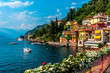 Leinwandbild Motiv Varenna, small town on lake Como, Italy