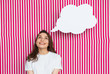 Leinwandbild Motiv Girl with speech bubble