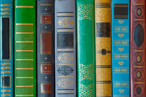 Fotografija  Colored books cover with patterns (closeup, texture, background)