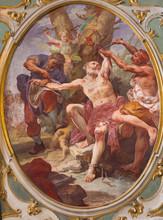 BERGAMO, ITALY - MARCH 16, 2017: The Fresco Of The Martyrdom Of St. Bartholomew The Apostle In Church Chiesa Dei SS. Bartolomeo E Stefano By Giuseppe Raggi (18. Cent.).