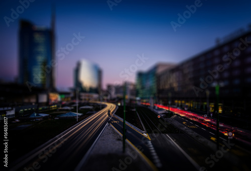 Recess Fitting Milan blue hour city blurred background - city lifestyle