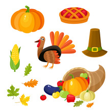 Set Of Colorful Thanksgiving S...