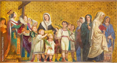 TURIN, ITALY - MARCH 15, 2017: The symbolic fresco of holy wifes and widows in church Chiesa di San Dalmazzo by Enrico Reffo (1831-1917) Fototapeta