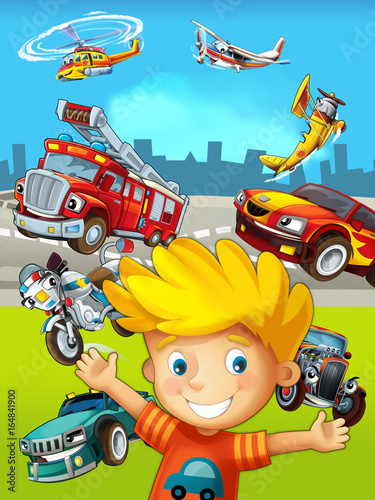 Recess Fitting Cars cartoon scene with young boy and different vehicles - illustration for children