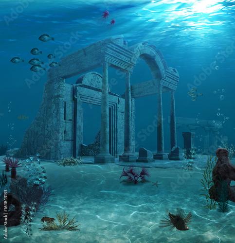 Ancient Atlantis Ruins Underwater Wallpaper Mural