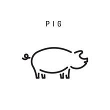 Pig Icon Isolated On White Background. Pork Vector Icon. Pig Logo Illustration