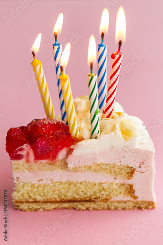 Closeup Of Tasty Beautiful Appetizing Elegant Piece Birthday Cake With Many Candles Holiday