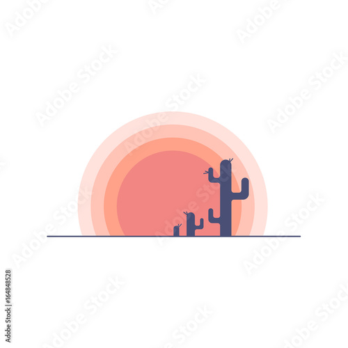 flat-cartoon-desert-sunset-landscape-with-cactus-silhouette-background-vector-illustration