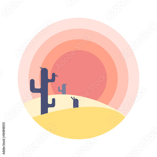 flat-cartoon-desert-sunset-landscape-with-cactus-silhouette-in-circle-background-vector-illustration