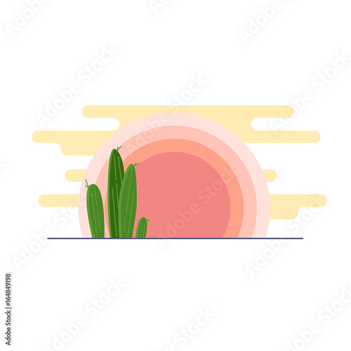 day-desert-landscape-with-cacti-under-the-sun-flat-vector-illustration
