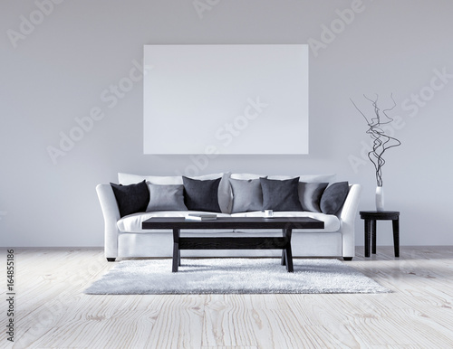 3d Illustration Of An Empty White Interior With A Sofa Blank Wall