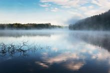 Sunrise Mist On Karelia Lake. Russia