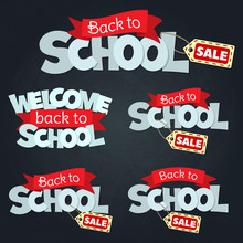 Blackboard With Greeting, First Of September, Back To School Sale. Vector