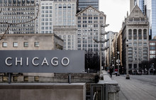 Old Chicago City Buildings Viewed From Chicago Art Museum, With CHICAGO Sign In Foreground