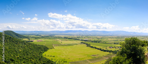Obraz Panoramic view of the Alazani valley from the height of the hill. Kakheti region - fototapety do salonu