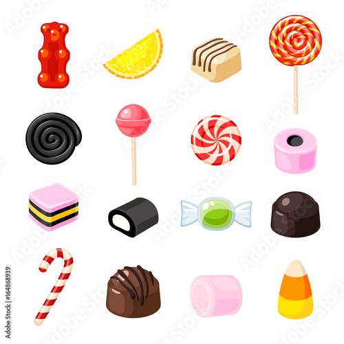 Fotografía Set single cartoon candies: lollipop, candy cane, bonbon, marmalade teddy bear, licorice, candied fruit
