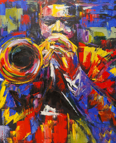 Платно Colorful jazz trumpeter illustration
