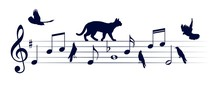 Musical Notes With Cats And Bi...