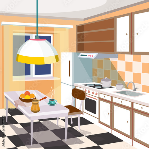 Vector cartoon illustration of a retro kitchen interior with ...
