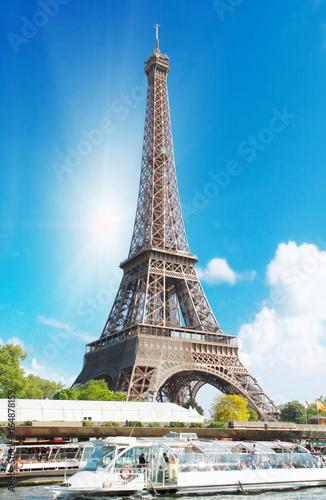 The Eiffel tower along the Seine in Paris Wallpaper Mural
