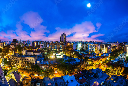 Panoramic view over Montevideo in Uruguay at night
