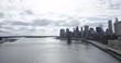 Long shot, Brooklyn Bridge over Hudson River