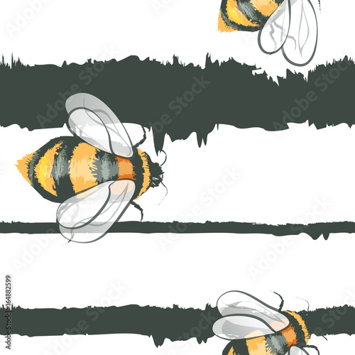Cotton fabric Realistic vector bee (bumble bee)