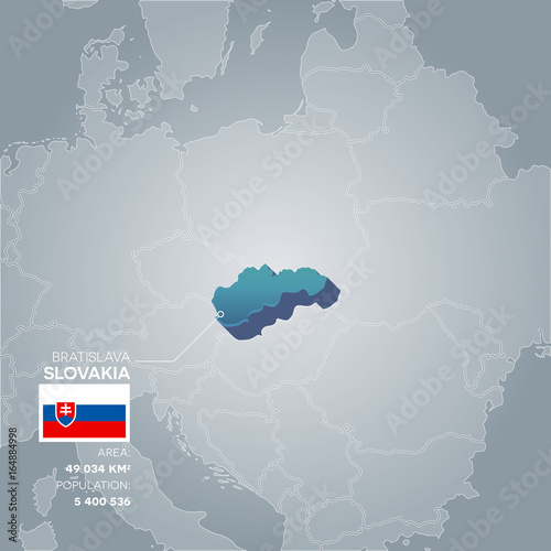 Slovakia information map. Wallpaper Mural
