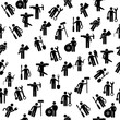 Different professions seamless colorful pattern on white background