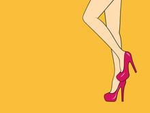 Female Legs Wearing High Heels...