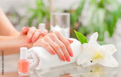 Aluminium Prints Manicure Manicure concept. Beautiful woman's hands with perfect manicure at beauty salon.