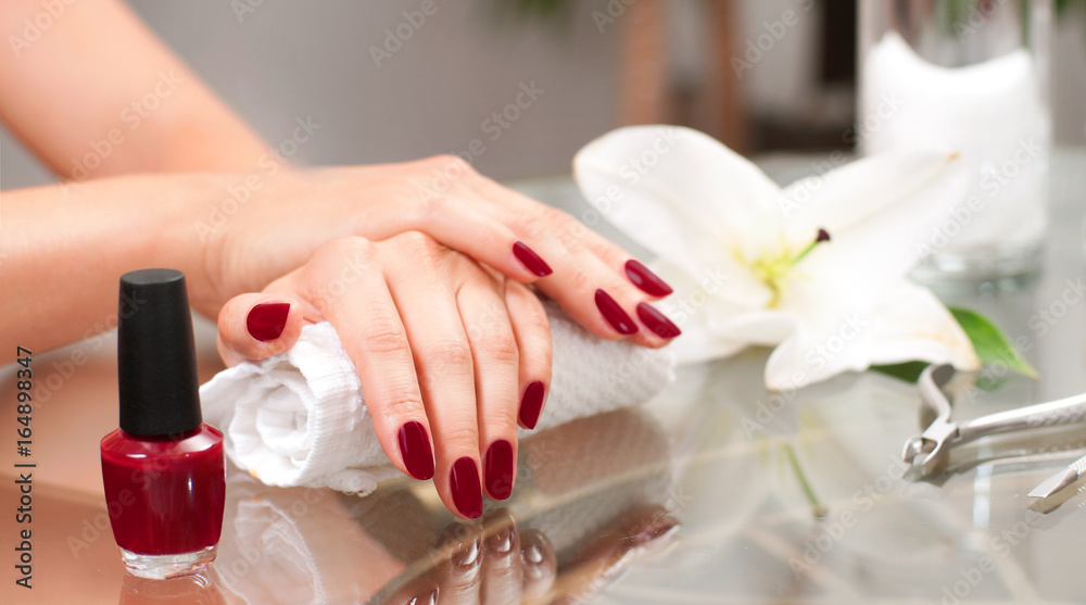 Fototapety, obrazy: Manicure concept. Beautiful woman's hands with perfect manicure at  beauty salon.
