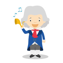 Ludwig Van Beethoven Cartoon Character. Vector Illustration. Kids History Collection.