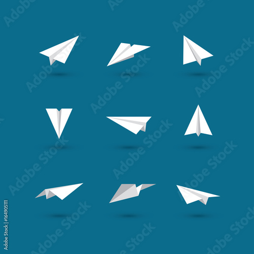White paper plane icons Wall mural