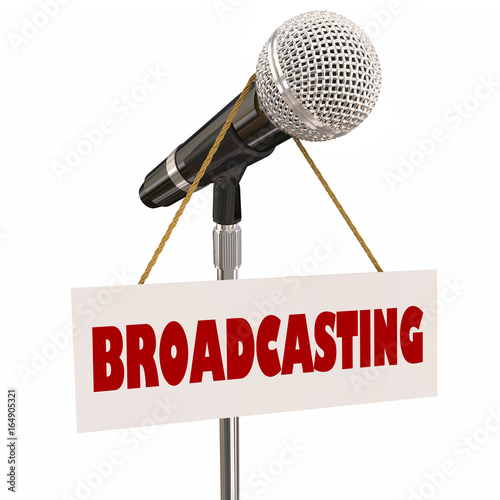 Fotografia, Obraz  Broadcasting Microhpone Sign Media Announcer Anchor Host 3d Illustration