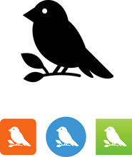 Bird Sitting On A Branch Icon - Illustration