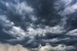 Leinwandbild Motiv Clouds in the sky in heavy rain. The sky in a storm