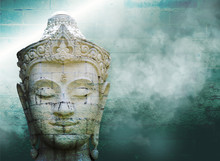 Abstract Grungy Old Wall Over White Buddha Head With Smoke Over Vintage Wall Background