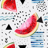 Abstract watercolor summer background : watermelon, brush stroke, doodle, paper texture. - 164919556