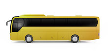 Yellow Big Tour Bus Isolated O...
