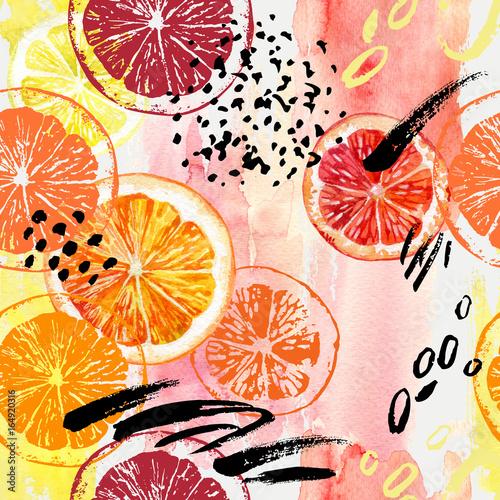 akwarela-pomaranczowy-cytryna-grejpfrutowy-wzor