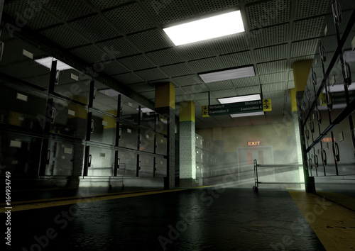 Photo A look down the aisle of fridges of a dimly lit ward in a mortuary with an empty
