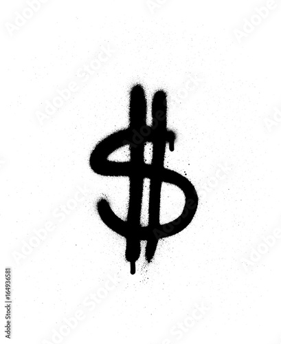 Fototapeta graffiti leaking dollar $ sign in black over white