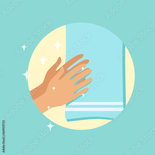 Fotografía  Drying hands with a towel round vector Illustration