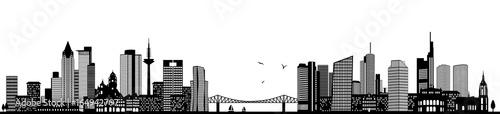 Fototapeta czarno-biała panorama Frankfurtu