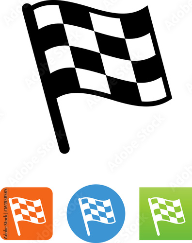 Fotografie, Obraz  Checkered Flag Icon- Illustration