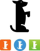 Dog Sitting Up Icon - Illustration