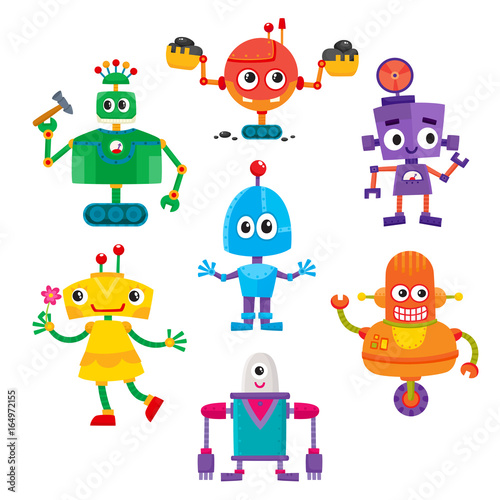 Garden Poster Robots Set of cute and funny colorful robot characters, cartoon vector illustration isolated on white background. Cartoon style set of funny colorful robot toys, aliens, androids