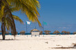 Banner on the beach Playa Sirena of the island of Cayo Largo, Cuba. Copy space for text.