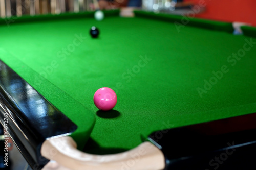 pink ball on snooker table near to pocket Canvas